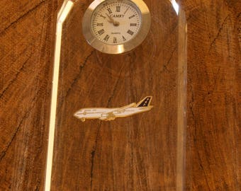 Boeing 747 Glass Clock Bedside or Desk Top Gift Boxed