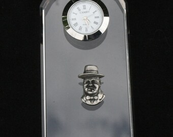 Churchill Glass Clock Bedside or Desk Top Gift Boxed