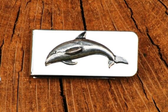 Dauphin poisson argent Clip Mens gravés cadeau
