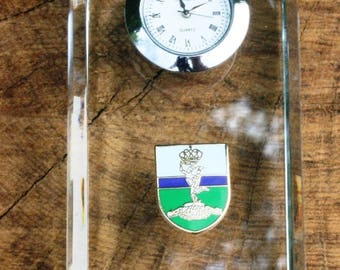 Royal Signals Design Glass Clock Bedside or Desk Top Military Gift Boxed ME30