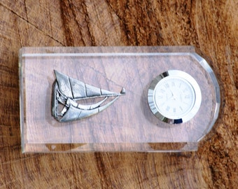 Yacht Design Glass Clock Bedside or Desk Top Gift Boxed