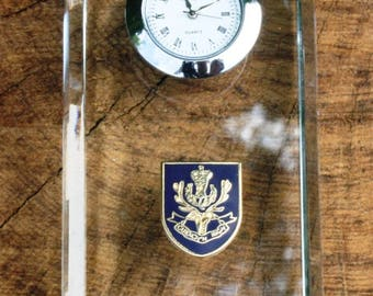 Queens Own Highlanders Design Glass Clock Bedside or Desk Top Military Gift Boxed ME34