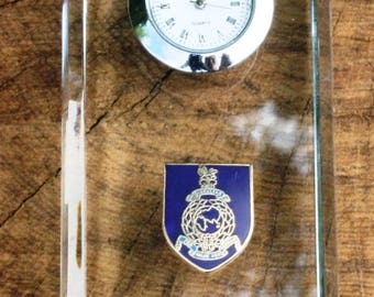 Royal Marines Design Glass Clock Bedside or Desk Top Military Gift Boxed ME21
