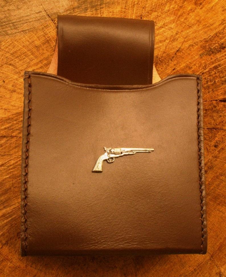 Pistol Vintage Cartridge Box Holder Brown Leather With Belt Loop Gift 281