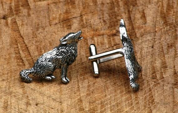 Sitting Wolf Design Gold Plated Cufflinks UK Handmade Gift Boxed 399
