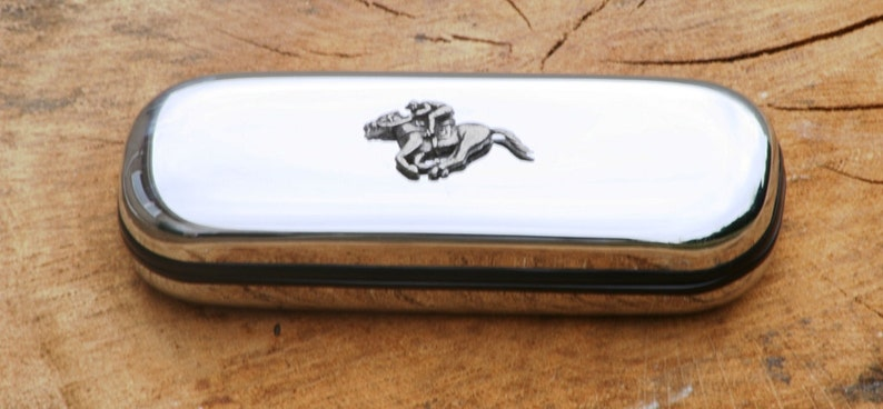 Horse Racing Glasses Spectacle Metal Case Gift FREE ENGRAVING image 0