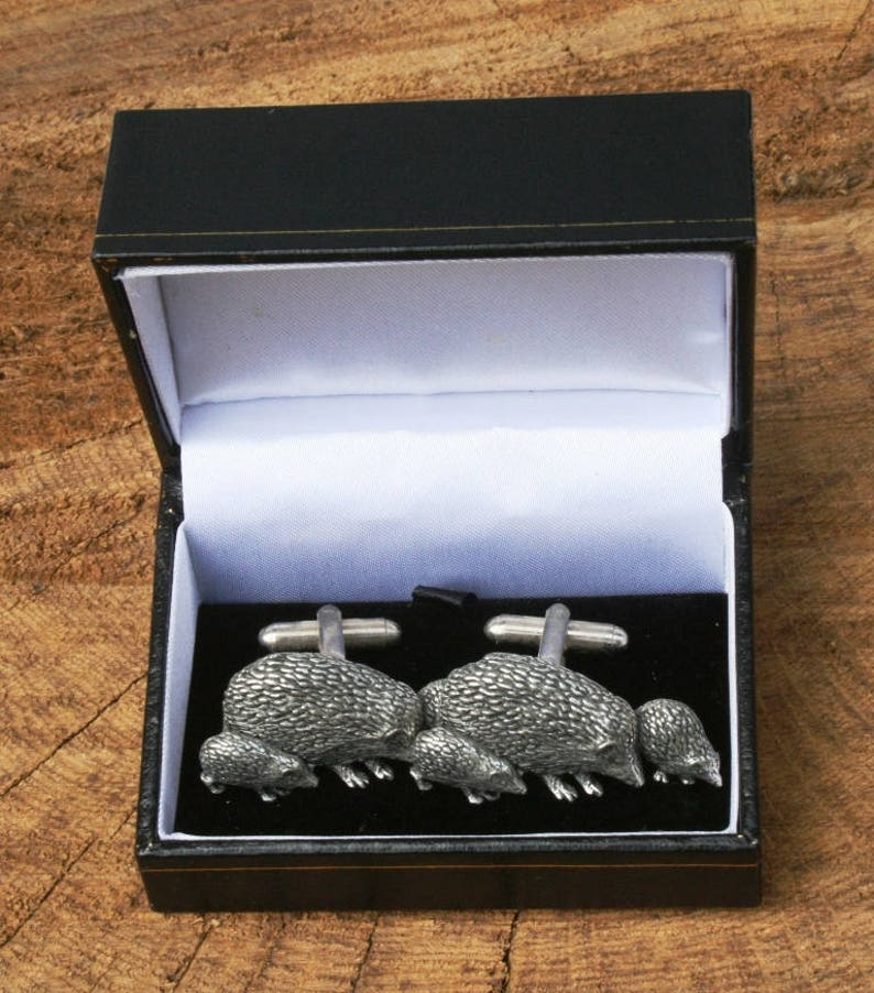 Hedgehog F Cufflinks Pewter UK Handmade Gift 175