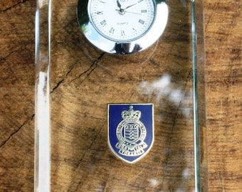 RAOC Royal Army Ordanance Corp Design Glass Clock Bedside or Desk Top Military Gift Boxed ME21