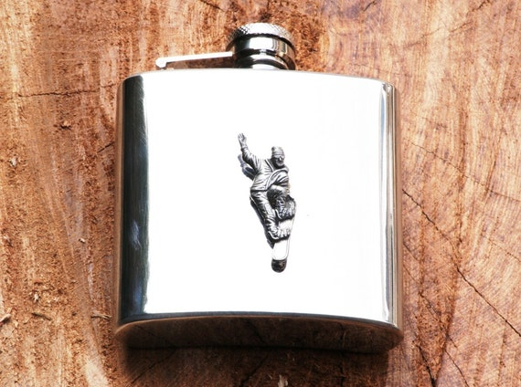 Wolf Design Stainless Steel Hip Flask Gift Boxed New 399