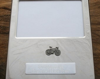 Racing Bike, Cyclist Or Penny Farthing Silver Personalised Photo Album FREE ENGRAVING Gift