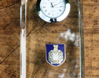 Kings Own Scottish Borderers Design Glass Clock Bedside or Desk Top Military Gift Boxed ME27