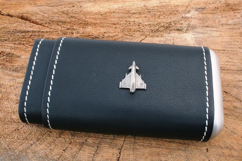 Eurofighter Leather Covered Cigar Tube Case Cedar Lined Gift Boxed 120