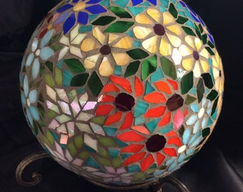 Mosaic Stained Glass Floral Medley  Garden Orb