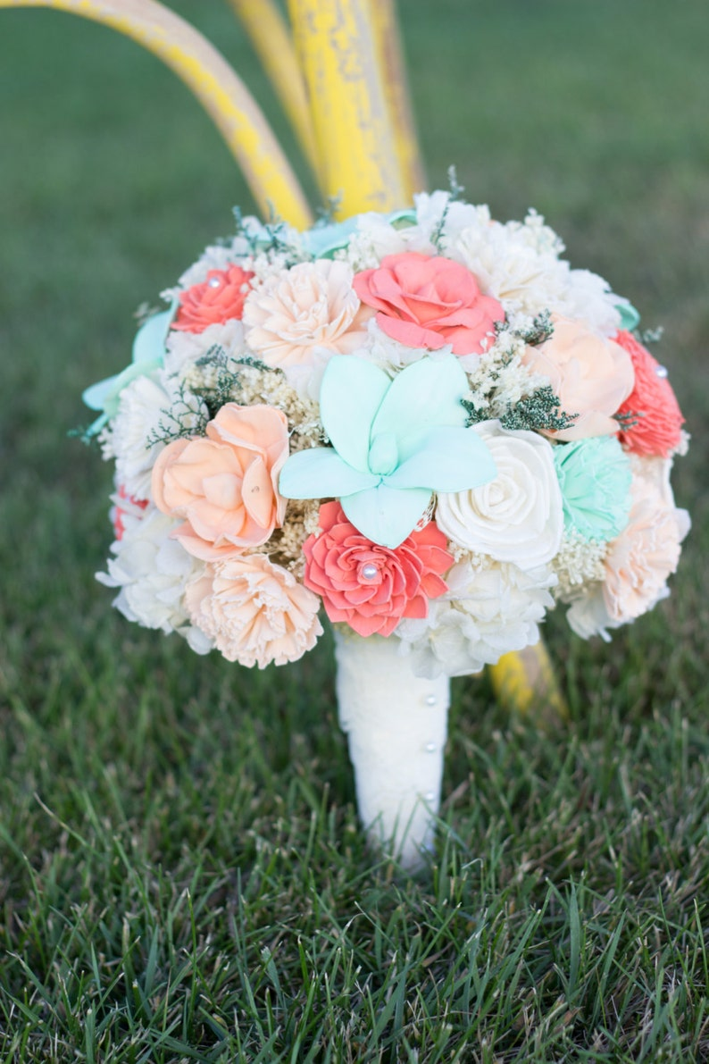 0771c5d91ca98 Wedding Bouquet, Bridal Bouquet, Mint, Peach, Coral- Sola Flower Bouquet,  handmade Wedding Bouquet, Alternative Bouquet