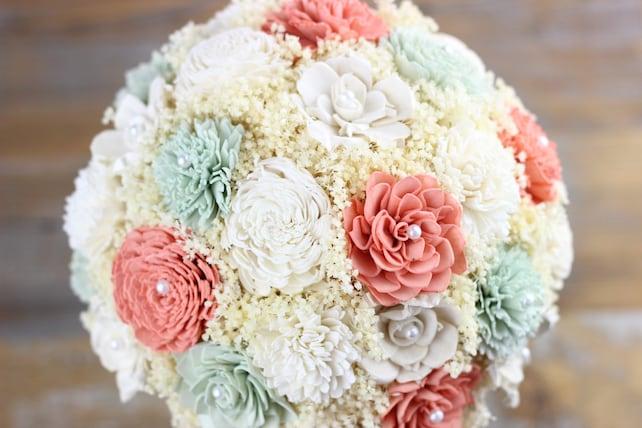 2b1882c557c25 Wedding Bouquet, David's Bridal Coral, Dusty Mint Sola Flower ...