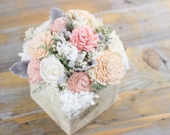 Wedding Sola Flower Centerpiece,Dusty Pink, Blush,Peach Birch Wedding Centerpiece,Shabby Chic,Alternative Flowers,Rustic Wedding Centerpiece