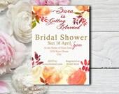 Coral Floral Bridal Shower Invitation