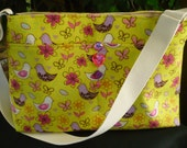 Springtime Birds & Butterflies D Ring Purse Diaper Bag