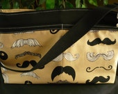 "Alexander Henry ""Where's My Stache?"" D-Ring Diaper Bag"