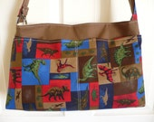 Dinosaurs in Brown Purse Diaper Bag