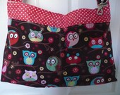 Bright Owls in Pink Purse Diaper Bag