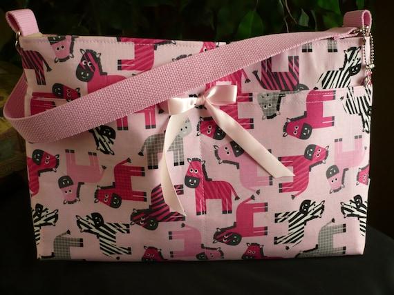 Pink Zebras 4-Pocket D-Ring Purse Diaper Bag