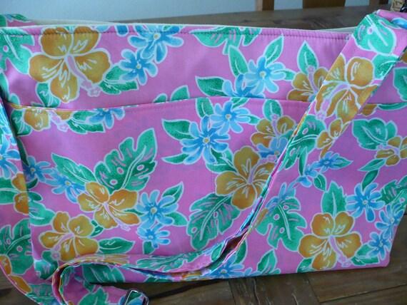 Adjustable Pink Orange Hibiscus Hawaiian Diaper Bag