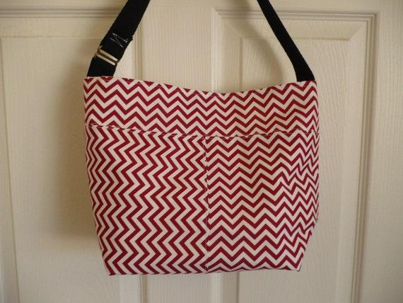 Red Chevron Bucket-Style Purse Diaper Bag