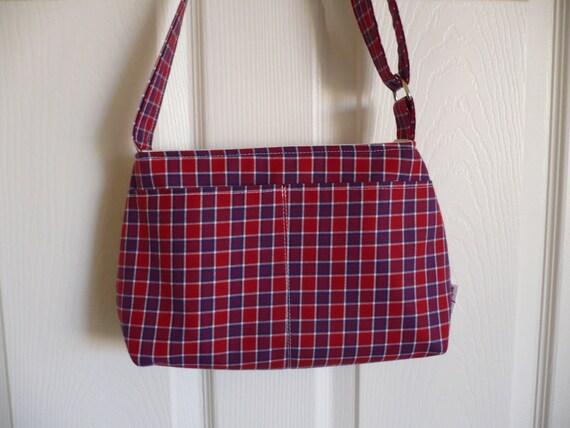 Plaid Adjustable Strap Mini Diaper Purse Bag