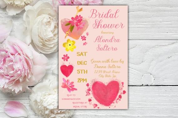 Watercolor Hearts Bridal Shower Invitation