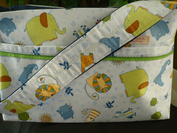 Baby Blue Zoo Animals Purse Diaper Bag