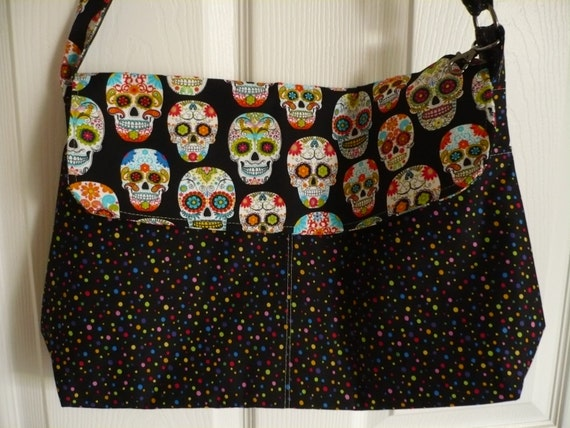 Skulls & Polkadots Adjustable Flappy Diaper Bag
