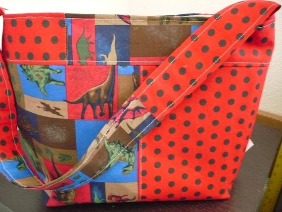 Red Dinosaur Bucket-Style Purse Diaper Bag