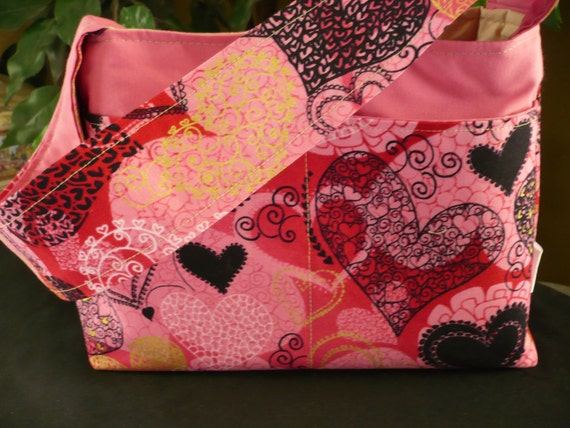 Metallic Pink Hearts Mini Diaper Bag
