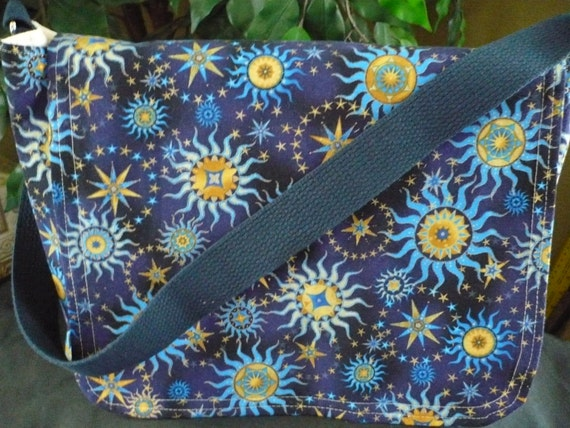 Blue Sun & Stars Messenger Diaper Bag