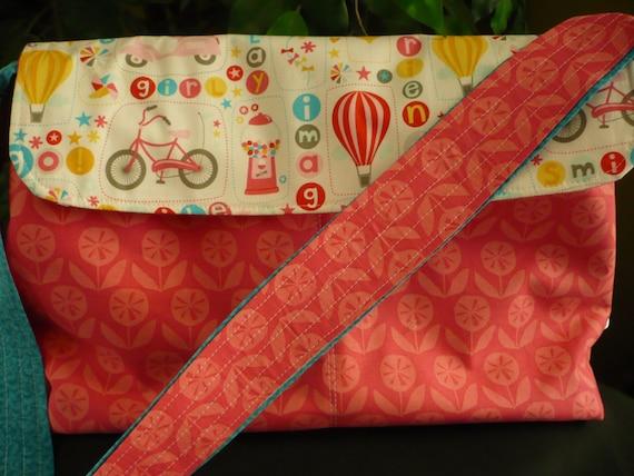 Circus Pink & Blue Purse Flappy Diaper Bag