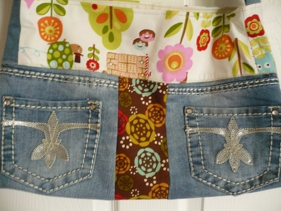 Multi-fabric Upcycle Purse Diaper Bag
