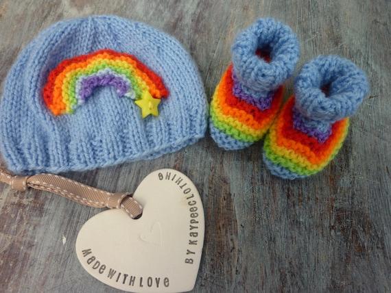 b67aa92c70b Rainbow baby hat booties set .Star .Blue pinkwhite Baby