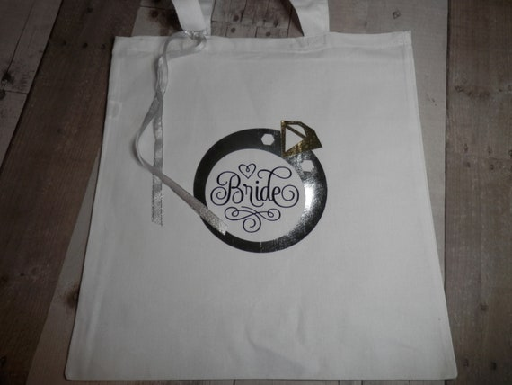 Bridal Tote Bag Brides Wedding Tote White Wedding Totes Wedding Party Totes Bridal Gift Bags Bridal Party Totes Wedding Ring Tote Bag