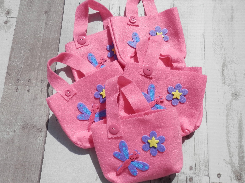 BIRTHDAY GIFT BAGSPink Felt FavorsFelt Candy BagsPink Gift | Etsy