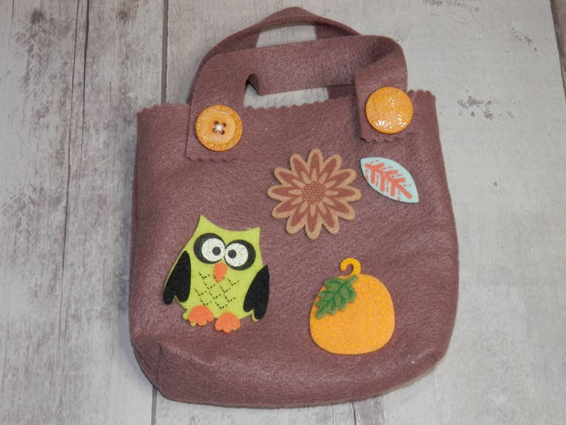 Gift Bags Owl Felt Bags Table Toppers Small Felt Totes Thanksgiving Gift Bags FALL FELT BAGS Candy Bags Holiday Table Settings