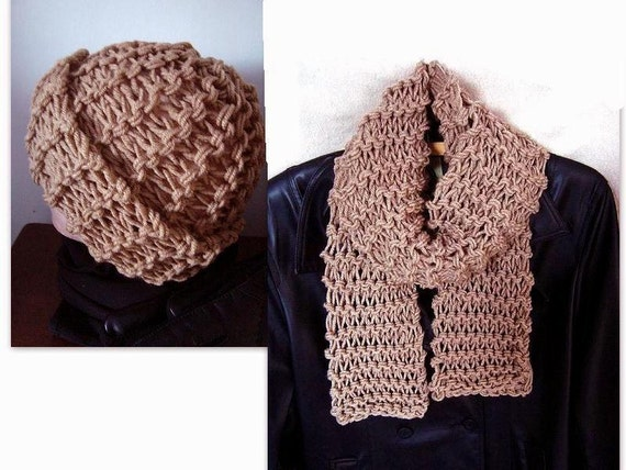 Knitting Pattern Hat And Scarf Set Unisex Accessories Etsy