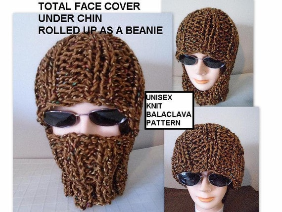 Knitting PATTERN Knit Balaclava Ski Hat Beanie Easy Flat Etsy Magnificent Balaclava Knitting Pattern