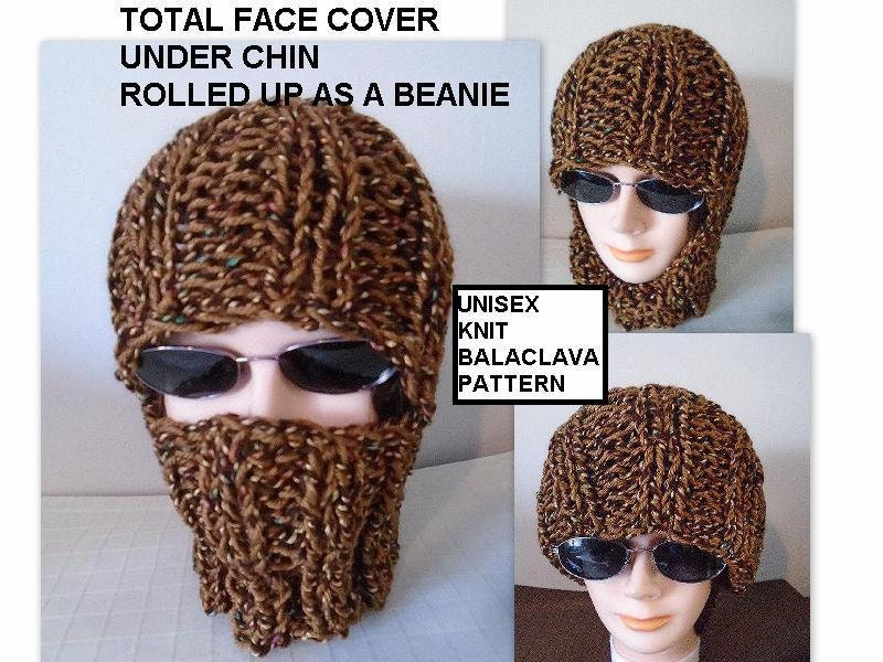Knitting Pattern Knit Balaclava Ski Hat Beanie Easy Flat