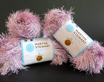 Martha Stewart Crafts Glitter Eyelash Yarn Pink Kunzite 3 Skeins Lion Brand
