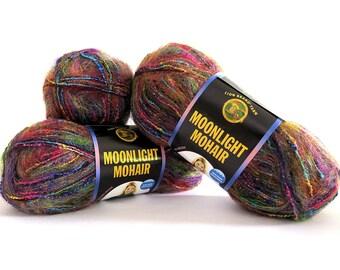 Moonlight Mohair Yarn Rainbow Falls 3 Skeins Lion Brand Craft Supplies