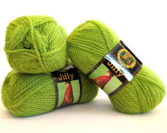 Jiffy Yarn Apple Green Lion Brand Mohair Look 3 Skeins Craft Supplies
