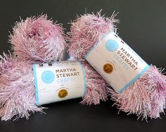 Pink Glitter Eyelash Yarn Martha Stewart Crafts Kunzite 3 Skeins Lion Brand Craft Supplies