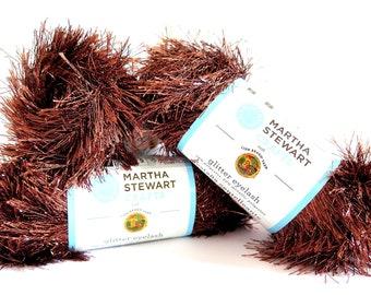 Martha Stewart Crafts Glitter Eyelash Brown Yarn Brownstone 3 Skeins Lion Brand