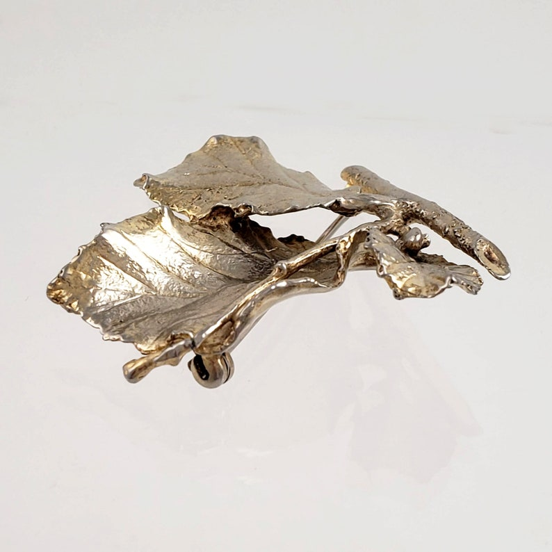Vintage Gilded Sterling Silver Brooch Natural Leaf and Twig Design by Napier 2 Tall